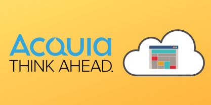 Acquia logo + icon representing content cloud