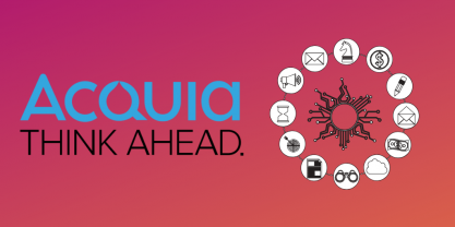 Acquia logo + icon representing integrated digital experience