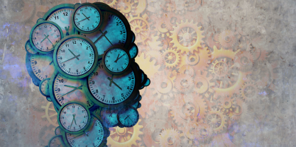 Illustration of head made out of clocks with gears in background