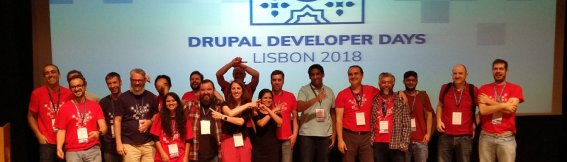 Members of the Portuguese Drupal community at Drupal DevDays Lisbon 2018