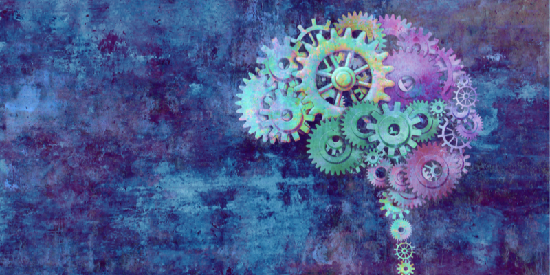 Brain comprised of colorful gears