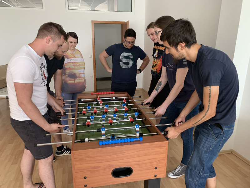 Agiledrop Maribor team playing table football