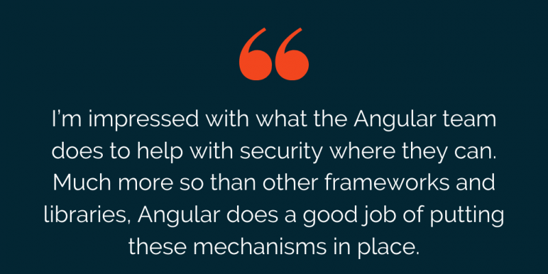 Ryan Chenkie quote on security in Angular
