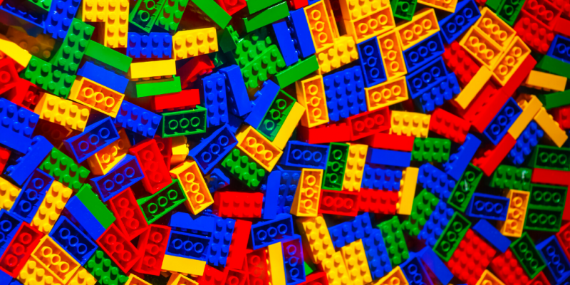 Pile of differently colored plastic blocks