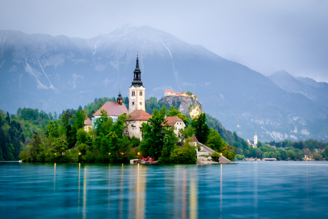 Bled island with church
